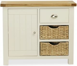 Global Home Suffolk Oak and Buttermilk Painted Small Sideboard with Baskets