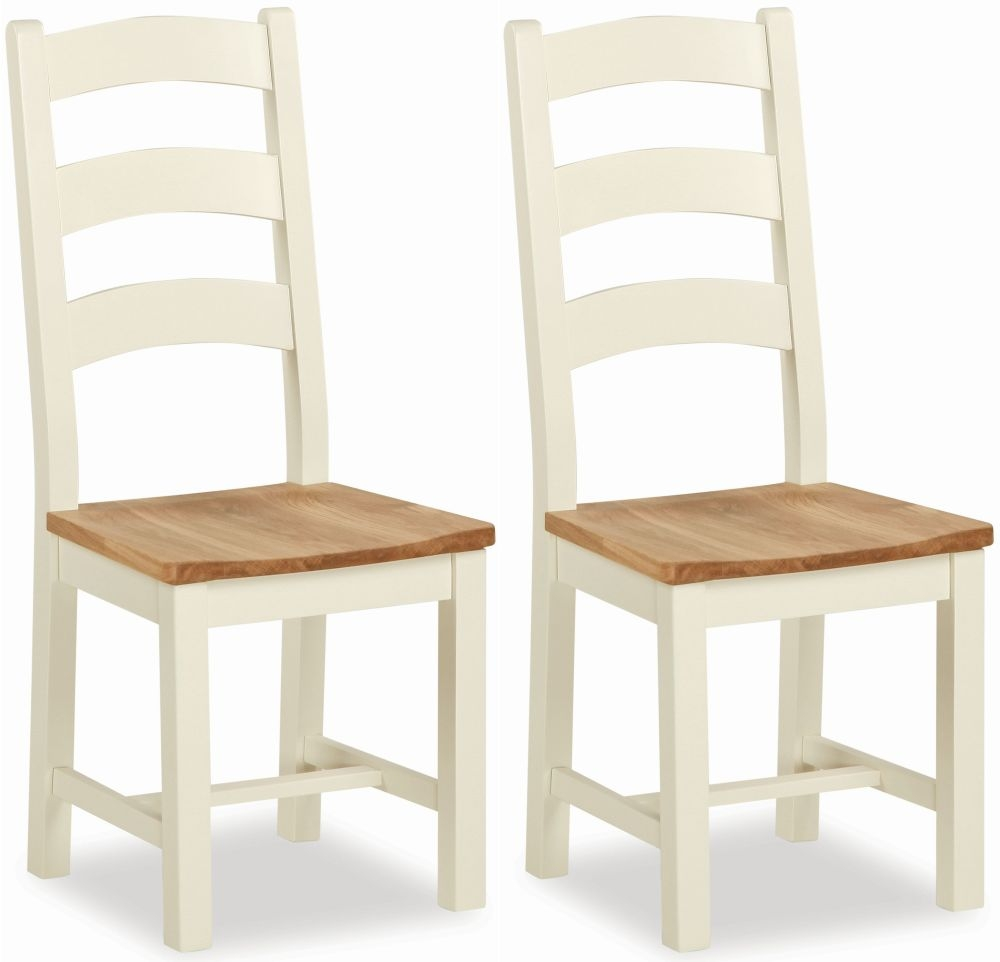 Suffolk Buttermilk Painted Slatted Back Dining Chair (Pair)