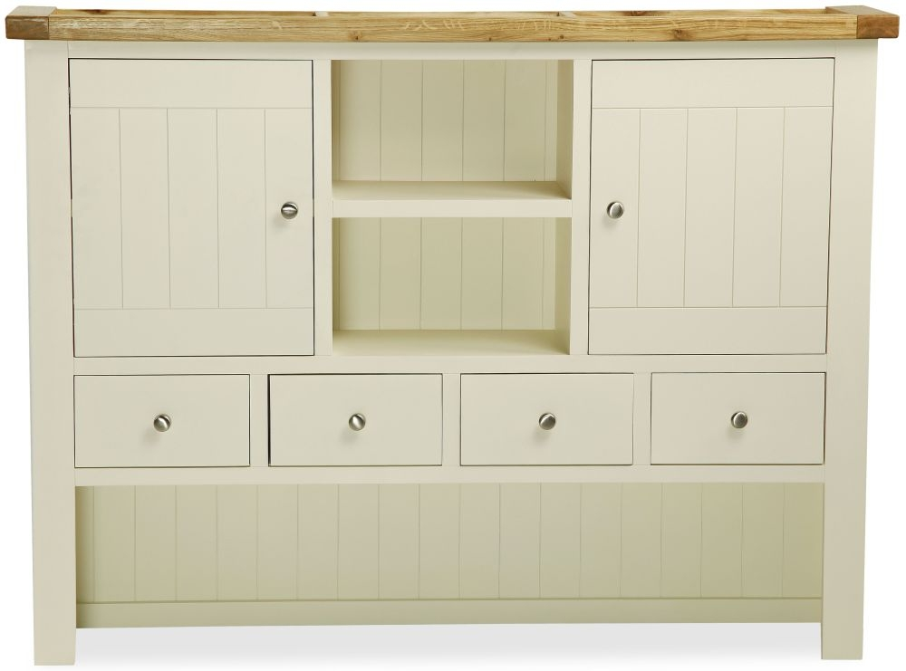 Global Home Suffolk Oak and Buttermilk Painted Hutch