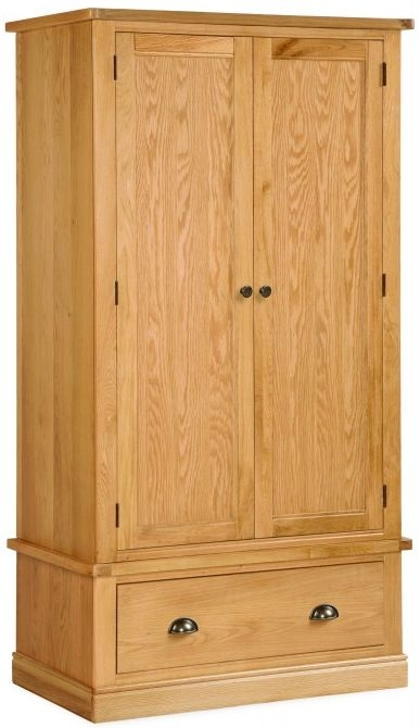 Global Home Sussex Oak 2 Door 1 Drawer Double Wardrobe