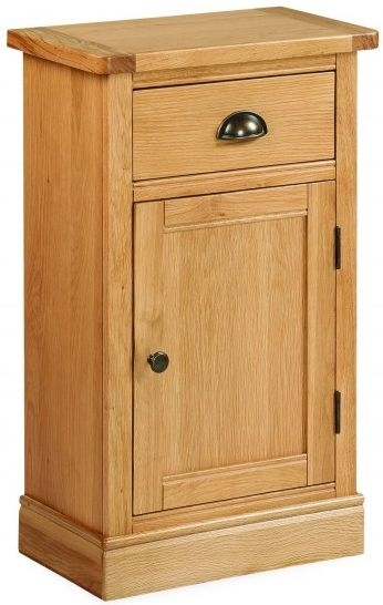 Global Home Sussex Oak Telephone Cupboard - 1 Door 1 Drawer