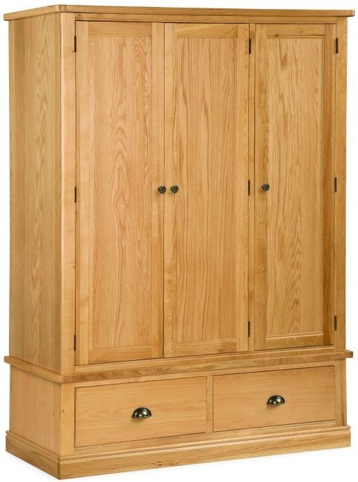 Global Home Sussex Oak 3 Door 2 Drawer Triple Wardrobe