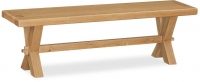 Global Home Vintage Oak Dining Bench with Cross Legs
