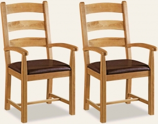 Global Home Vintage Oak Dining Armchair (Pair)