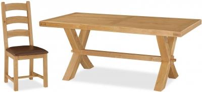 Global Home Vintage Oak Rectangular Cross Leg Dining Set with 4 Chairs - 190cm