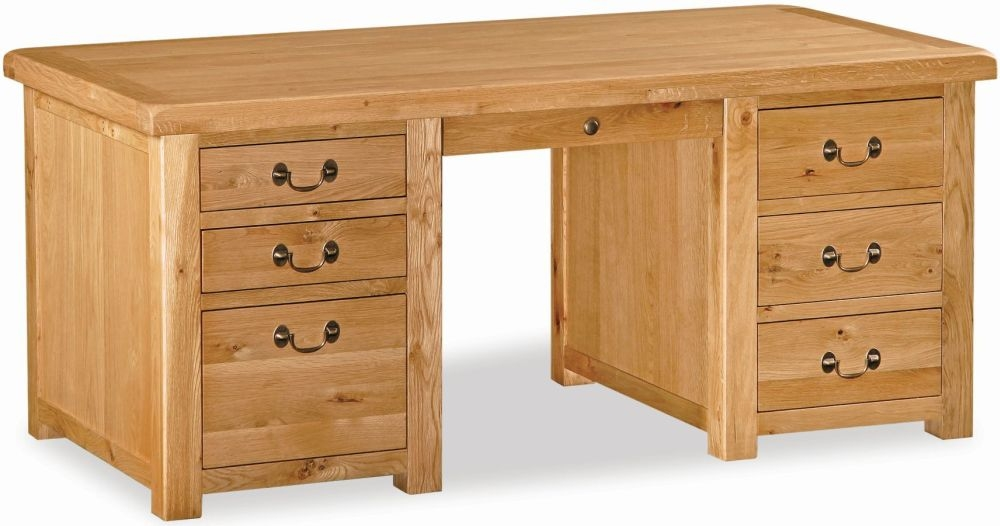 Global Home Vintage Oak Desk - Double