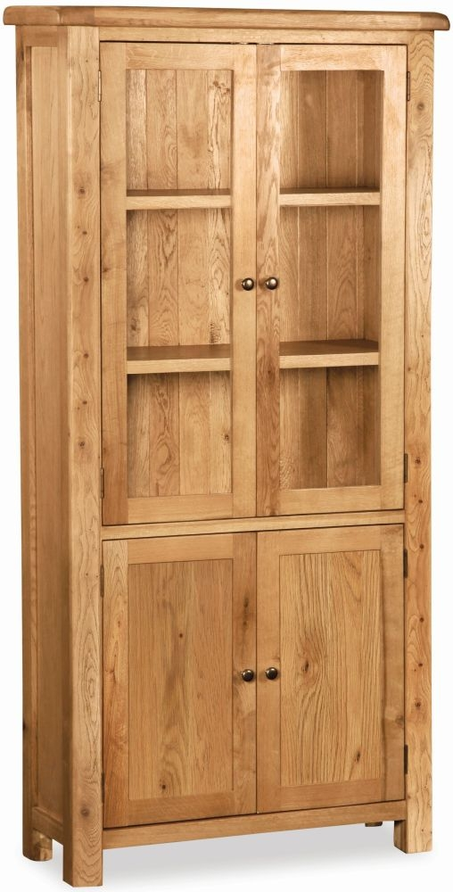 Global Home Vintage Oak Display Cabinet - 4 Door