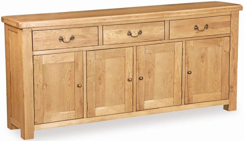 Global Home Vintage Oak 4 Door 3 Drawer Wide Sideboard