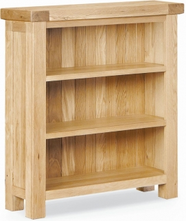 Global Home York Oak Bookcase - Low Wide