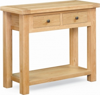 Global Home York Oak Console Table - 2 Drawer