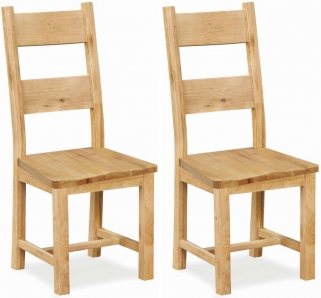 Global Home York Oak Dining Chair with Wooden Seat (Pair)