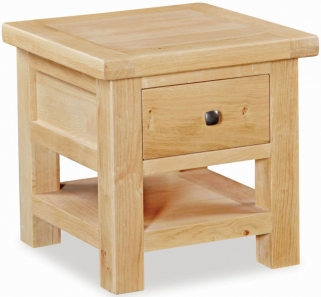 Global Home York Oak Lamp Table with Drawer