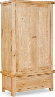 Global Home York Oak Gents Double Wardrobe - 2 Door 1 Drawer