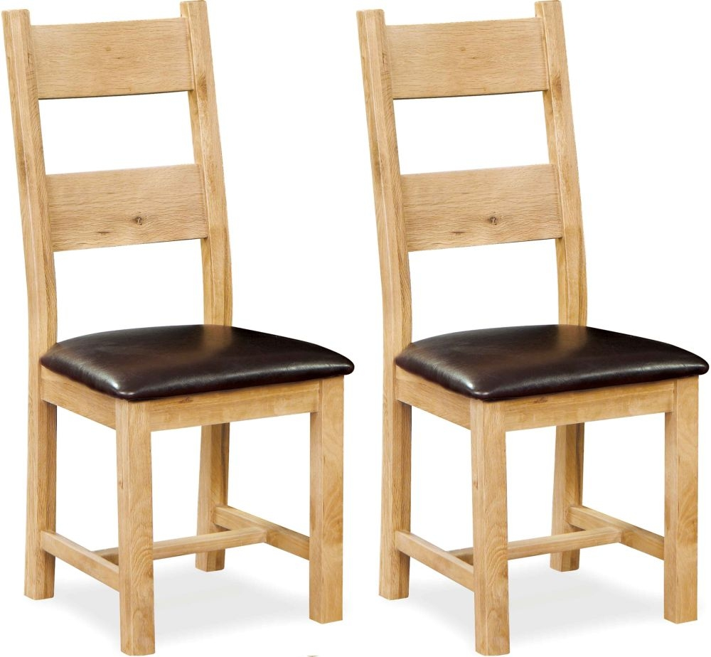 Global Home York Oak Dining Chair with Faux Leather Seat (Pair)