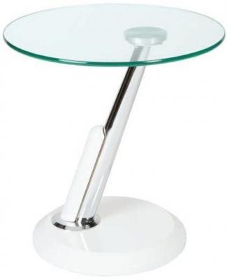 Clearance - Greenapple Dubai Lamp Table - Glass and White - New - E-187