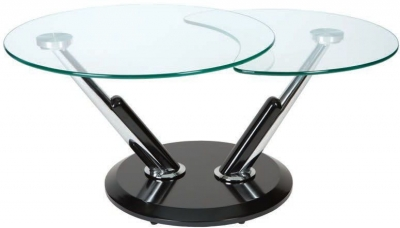 Greenapple Dubai Rotating Coffee Table - Glass and Black