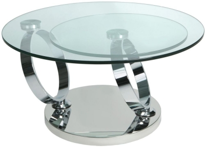 Greenapple Glass Plus Magic Rings Rotating Coffee Table