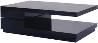 Greenapple Glass Plus Quirk Rotating Coffee Table - Black LY0611B