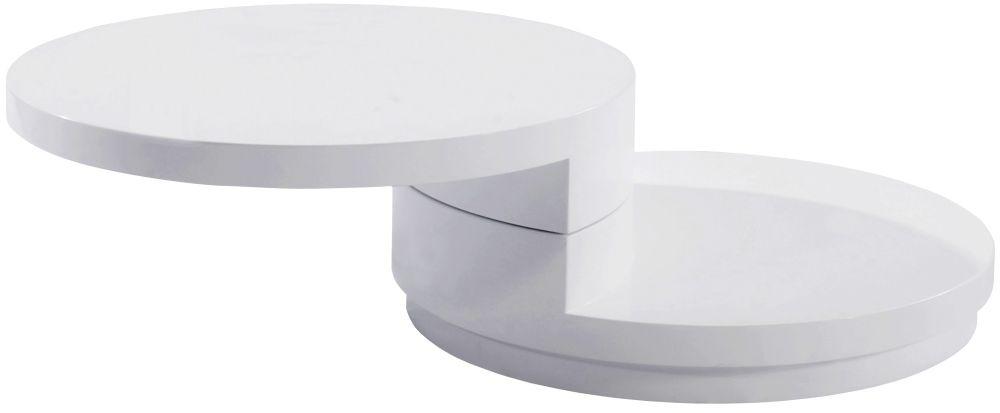 Greenapple Glass Plus Giro Rotating Coffee Table - White LY0621W