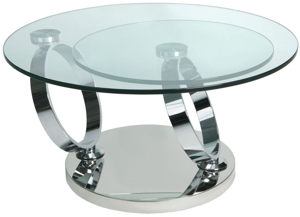 Greenapple Glass Plus Magic Rings Rotating Coffee Table LY6233