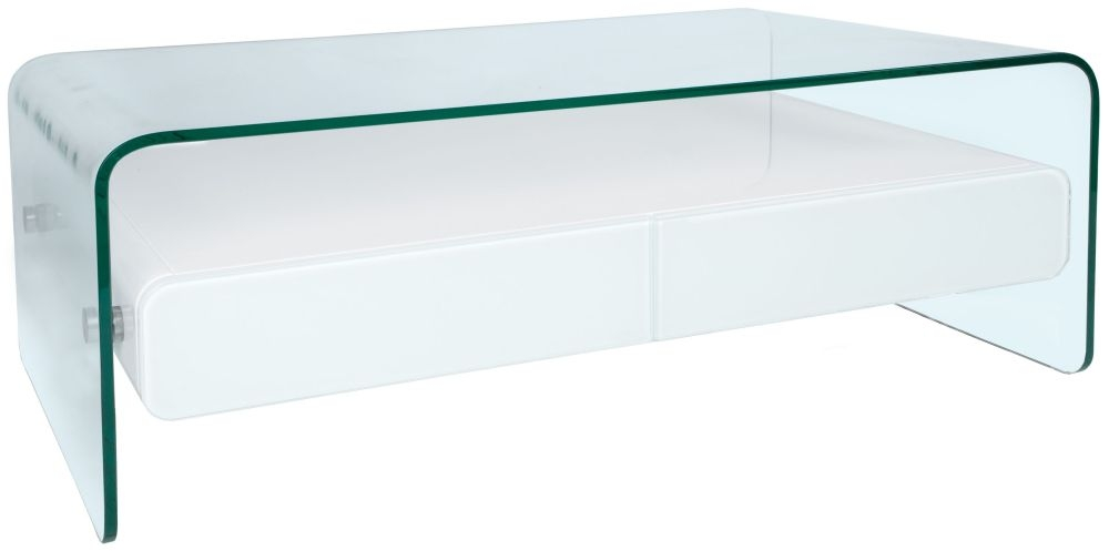 Greenapple Glass Plus Mauritius White Coffee Table - LY1301