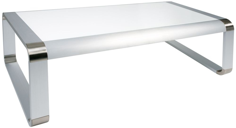 Greenapple Glass Plus Oasis Rectangular Coffee Table - White LY82180W