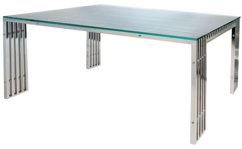 Greenapple Glass Plus Steele Dining Table - 8 Seater LY4403