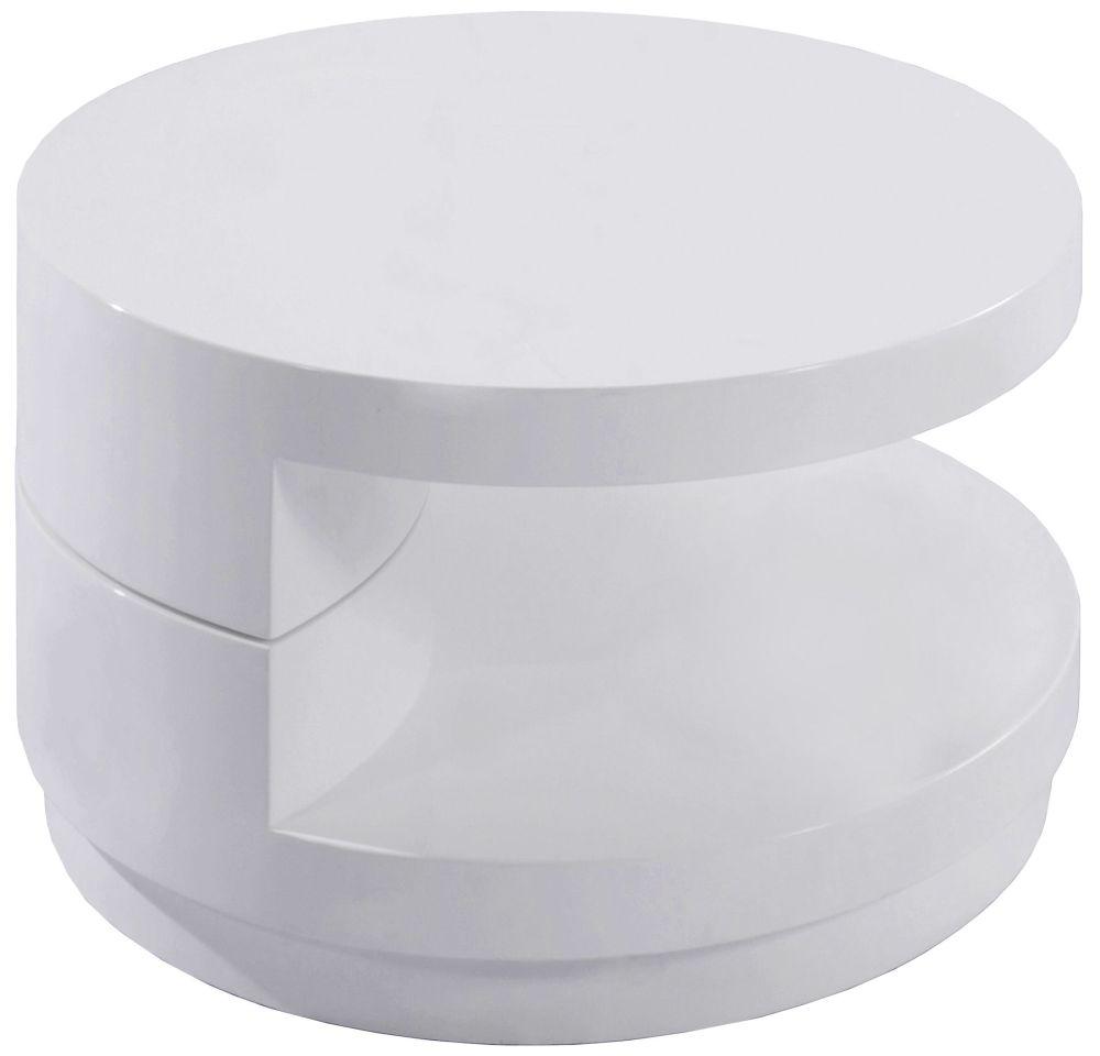 Greenapple Glass Plus Giro Rotating Lamp Table - White LY0622W