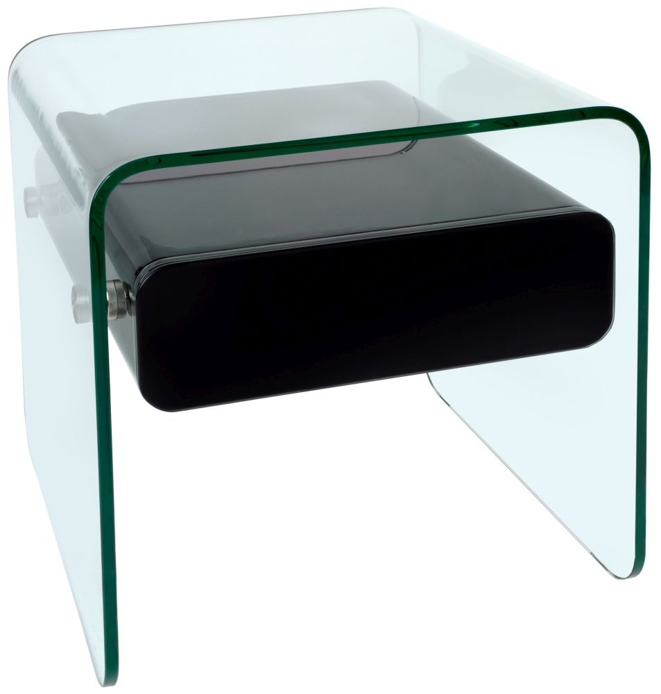 Greenapple Glass Plus Mauritius Black 1 Drawer Lamp Table