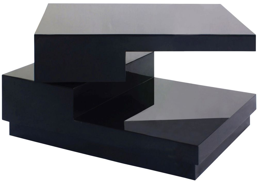 Greenapple Glass Plus Quirk Rotating Lamp Table - Black LY0612B