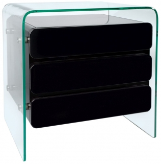 Greenapple Glass Plus Mauritius Chest of Drawer - Black LY1204