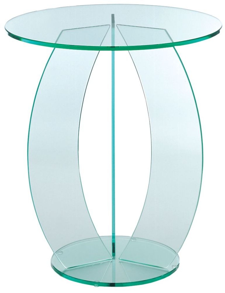 Greenapple Pure Glass Round Table with C Shape Leg 59738