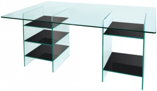 Greenapple Pure Glass Desk with Black Shelves 59616TZW