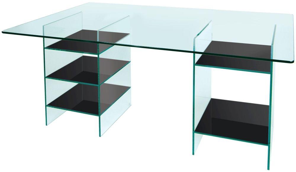 Greenapple Pure Glass Desk with Black Shelves 59616TZW