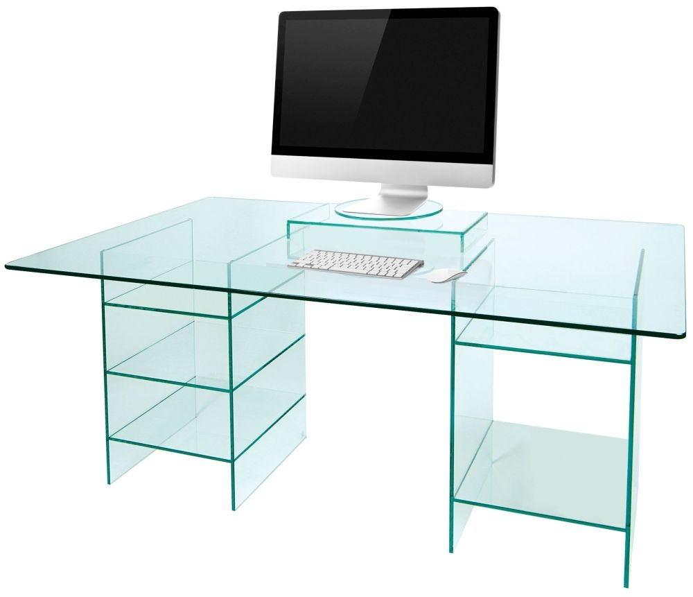Greenapple Pure Glass Desk With Shelves 59616tg