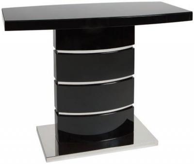 Greenapple Rimini Console Table - Glass and Black High Gloss