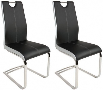 Greenapple Rimini Black Faux Leather Dining Chair (Pair)