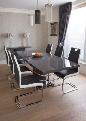 Greenapple Rimini Grey Extending Dining Table and 4 Two-Tone Faux Leather Chairs