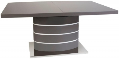Greenapple Rimini Extending Dining Table - Glass and Grey High Gloss
