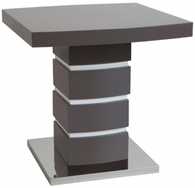 Greenapple Rimini Lamp Table - Glass and Grey High Gloss