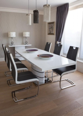 Greenapple Rimini White Extending Dining Table and 4 Two-Tone Faux Leather Chairs