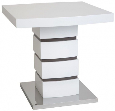Greenapple Rimini Lamp Table - Glass and White High Gloss