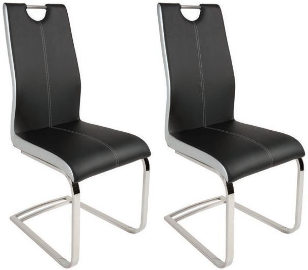 Strange Greenapple Rimini Black Faux Leather Dining Chair Pair Pabps2019 Chair Design Images Pabps2019Com