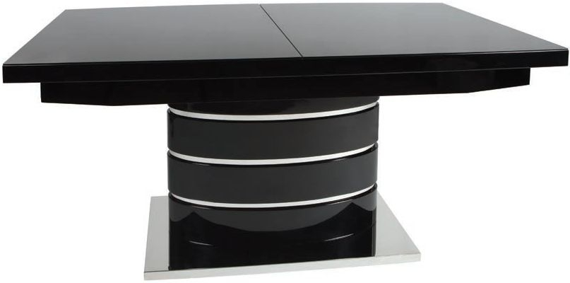 Greenapple Rimini Black Dining Table with Glass Top - Extending