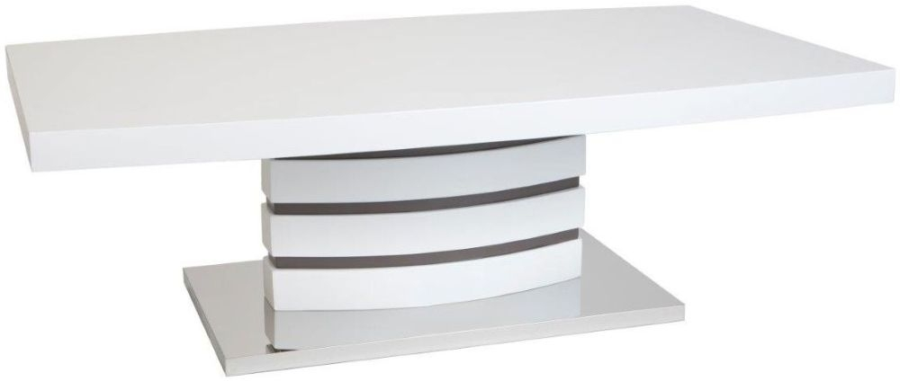 Greenapple Rimini White Coffee Table with Glass Top