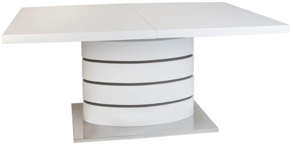 Greenapple Rimini White Rectangular Extending Dining Table with Glass Top - 160cm-215cm