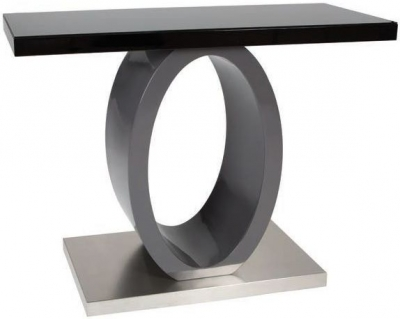 Greenapple Saturn Glass Top Console Table - Black High Gloss and Grey