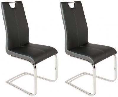 Greenapple Saturn Black Faux Leather Dining Chair (Pair)