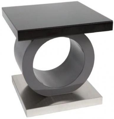 Greenapple Saturn Glass Top Lamp Table - Black High Gloss and Grey