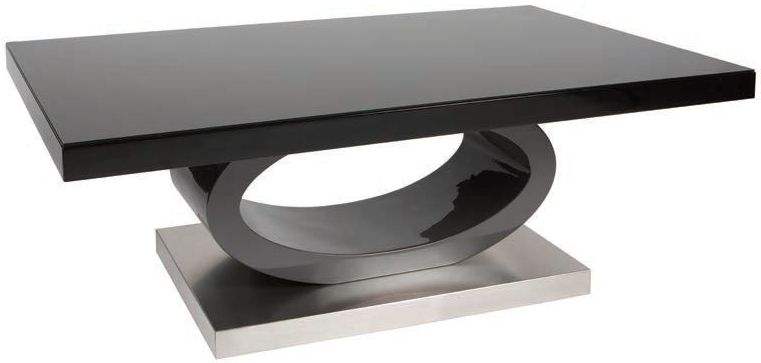 Greenapple Saturn Black Glass Coffee Table